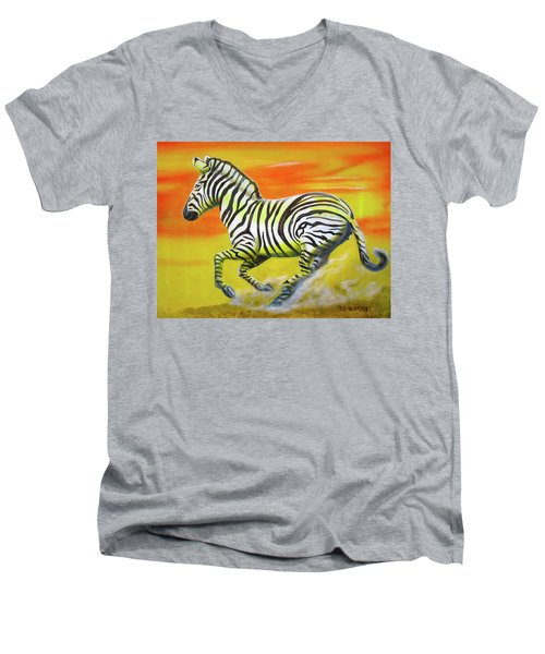 Zebra Kicking Up Dust Men's V-Neck T-Shirt