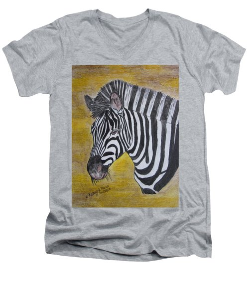 Men's V-Neck T-Shirt featuring the painting Zebra Portrait by Kathy Marrs Chandler