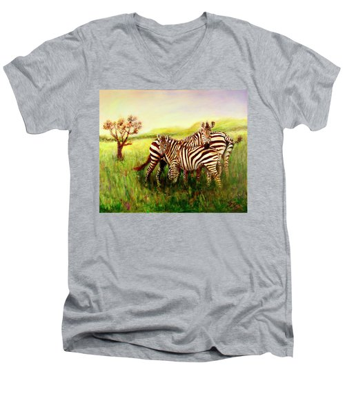 Men's V-Neck T-Shirt featuring the painting Zebras At Ngorongoro Crater by Sher Nasser