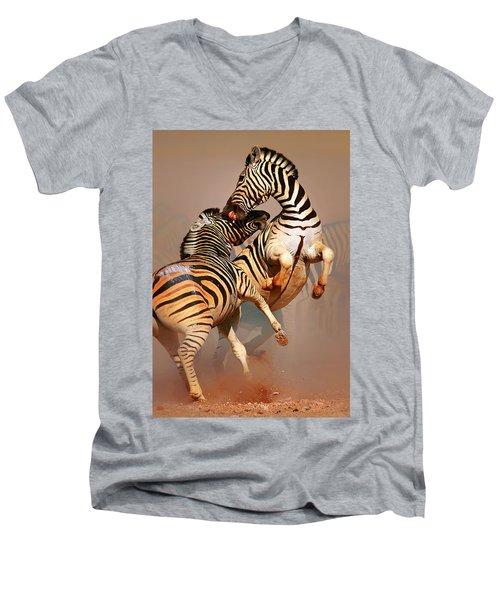 Zebras Fighting Men's V-Neck T-Shirt by Johan Swanepoel
