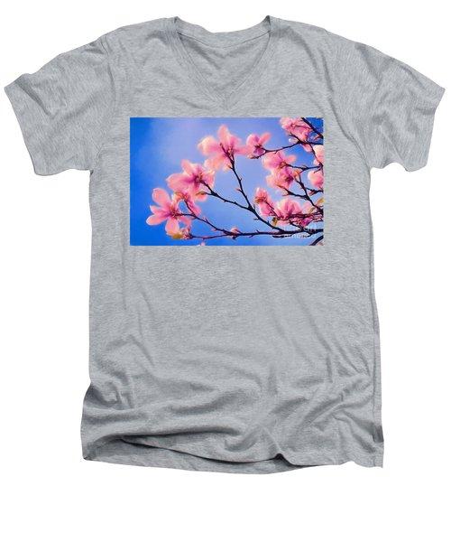 Cherry Blossums In Digital Watercolor Men's V-Neck T-Shirt