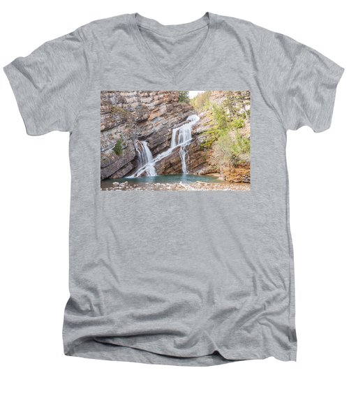 Men's V-Neck T-Shirt featuring the photograph Zigzag Waterfall by John M Bailey