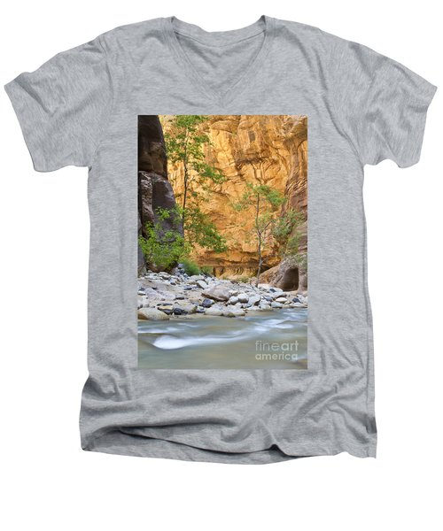 Men's V-Neck T-Shirt featuring the photograph Zion Narrows by Bryan Keil