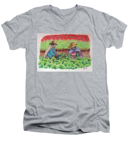 Men's V-Neck T-Shirt featuring the drawing Zucchini In Peru by Lew Davis