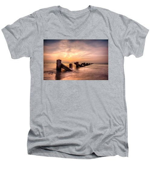 Men's V-Neck T-Shirt featuring the photograph  Abermaw Sunset by Beverly Cash
