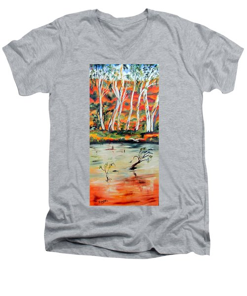 Men's V-Neck T-Shirt featuring the painting  Aussiebillabong by Roberto Gagliardi