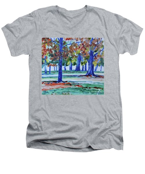Fall In My Backyard Men's V-Neck T-Shirt by Jan Bennicoff