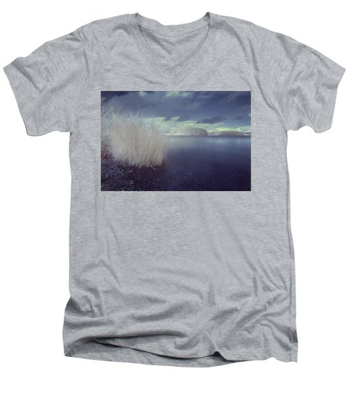 Men's V-Neck T-Shirt featuring the photograph  Infrared At Llyn Brenig by Beverly Cash