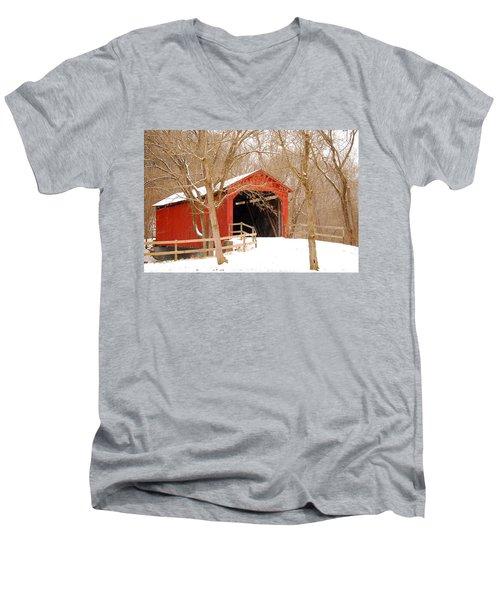 Men's V-Neck T-Shirt featuring the photograph  Sandy Creek Cover Bridge  by Peggy Franz