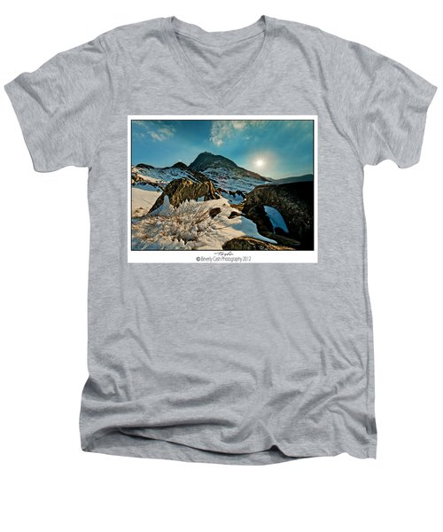 Spring Snows At Tryfan Men's V-Neck T-Shirt