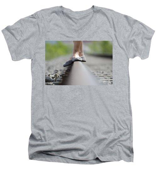 Balance On Railroad Tracks Men's V-Neck T-Shirt