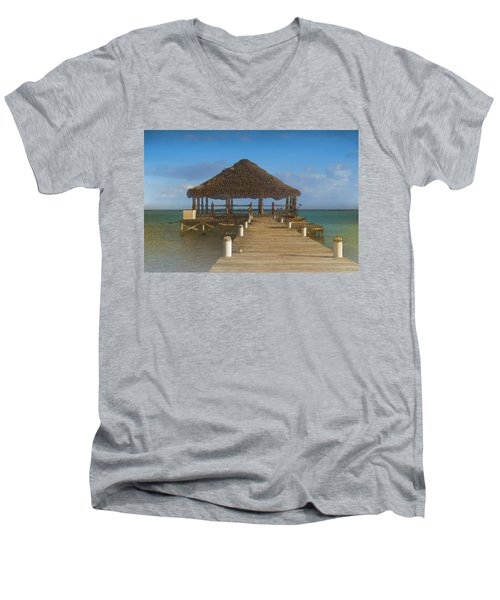 Beach Deck With Palapa Floating In The Water Men's V-Neck T-Shirt