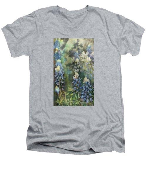 Bluebonnet Blessing Men's V-Neck T-Shirt by Karen Kennedy Chatham