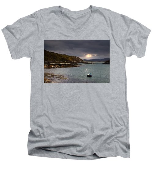 Men's V-Neck T-Shirt featuring the photograph Boat In Water, Loch Sunart, Scotland by John Short