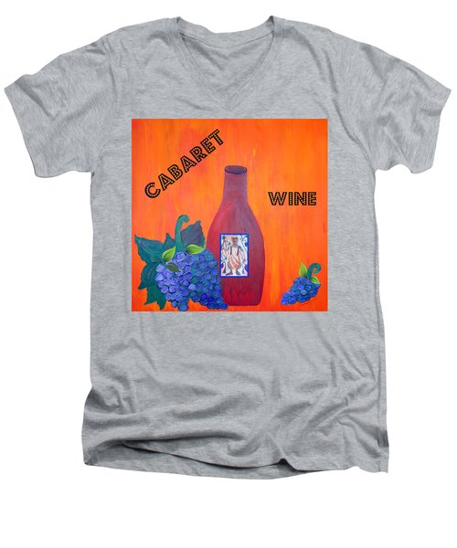 Men's V-Neck T-Shirt featuring the painting Cabaret Wine by Cynthia Amaral