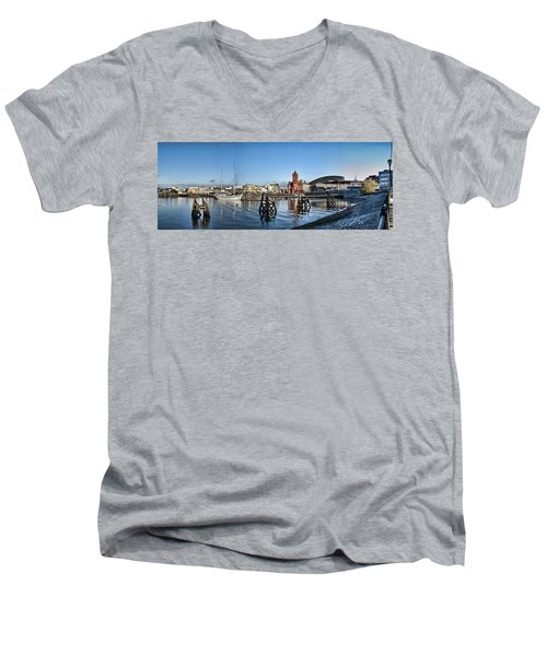 Cardiff Bay Panorama Men's V-Neck T-Shirt by Steve Purnell