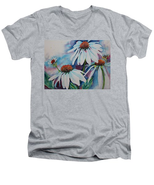 Men's V-Neck T-Shirt featuring the painting Coneflower by Ruth Kamenev