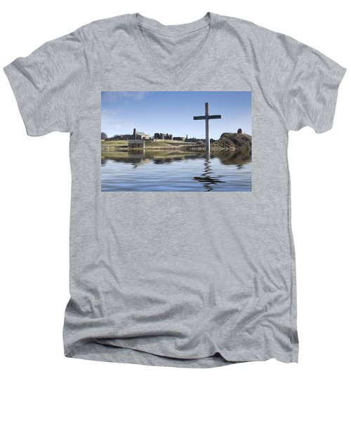 Cross In Water, Bewick, England Men's V-Neck T-Shirt