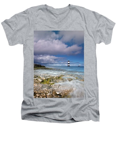 Fishing By The Lighthouse Men's V-Neck T-Shirt