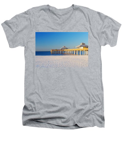Fort Myers Beach Pier Men's V-Neck T-Shirt