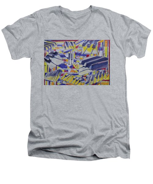 Jumping Jazz Men's V-Neck T-Shirt by Jan Bennicoff