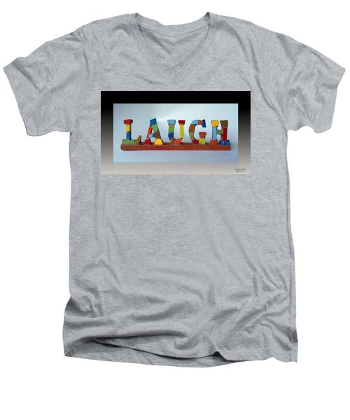 Men's V-Neck T-Shirt featuring the mixed media Laugh by Cynthia Amaral