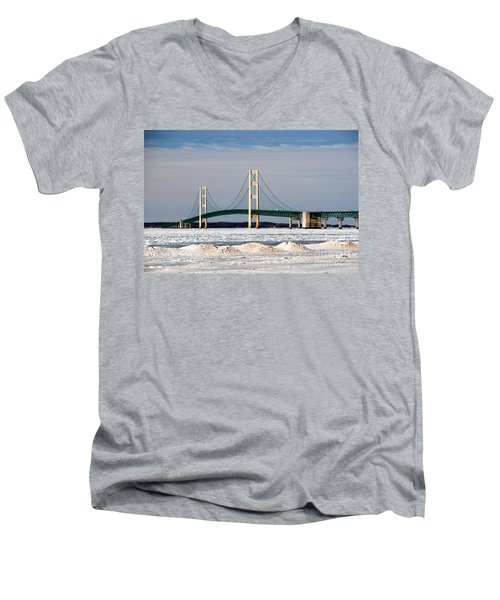 Mackinac Bridge In Winter Men's V-Neck T-Shirt