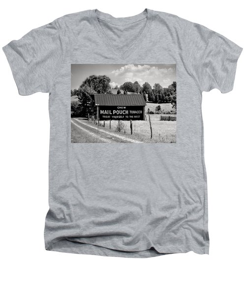 Men's V-Neck T-Shirt featuring the photograph Mail Pouch Barn by Mary Almond
