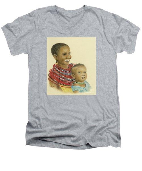 Masai Mom And Babe Men's V-Neck T-Shirt
