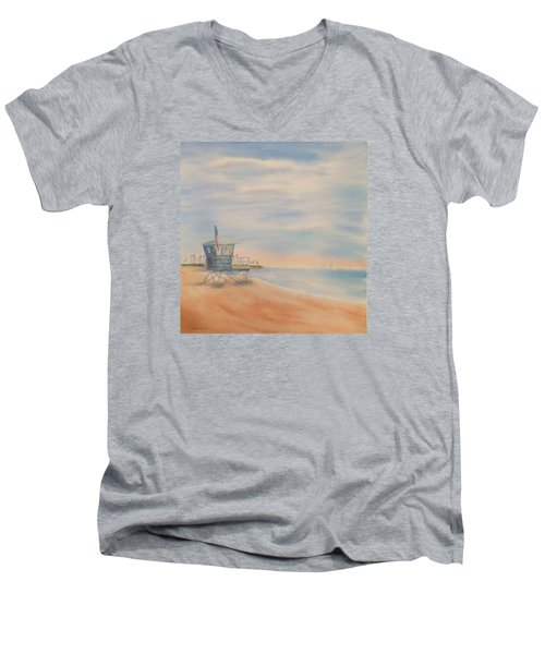 Morning By The Beach Men's V-Neck T-Shirt by Debbie Lewis