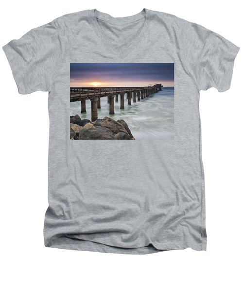 Pier At Sunset Men's V-Neck T-Shirt