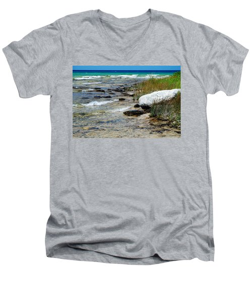 Quiet Waves Along The Shore Men's V-Neck T-Shirt by Janice Adomeit