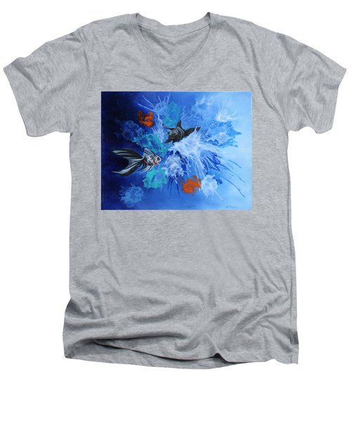 Men's V-Neck T-Shirt featuring the painting Richies Fish by Wendy Shoults