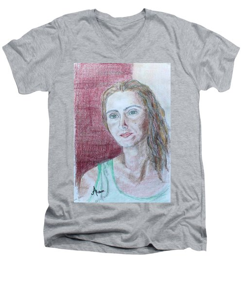Men's V-Neck T-Shirt featuring the drawing Self Portrait by Anna Ruzsan