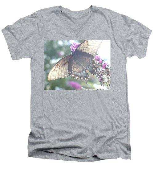 Sheer Butterfly Men's V-Neck T-Shirt