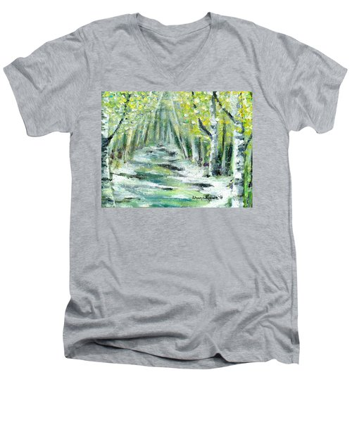 Men's V-Neck T-Shirt featuring the painting Spring by Shana Rowe Jackson