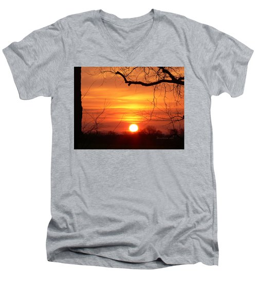 Men's V-Neck T-Shirt featuring the photograph Sunrise In Tennessee by EricaMaxine  Price
