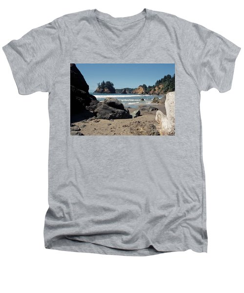 Men's V-Neck T-Shirt featuring the photograph Trinidad Beach by Sharon Elliott