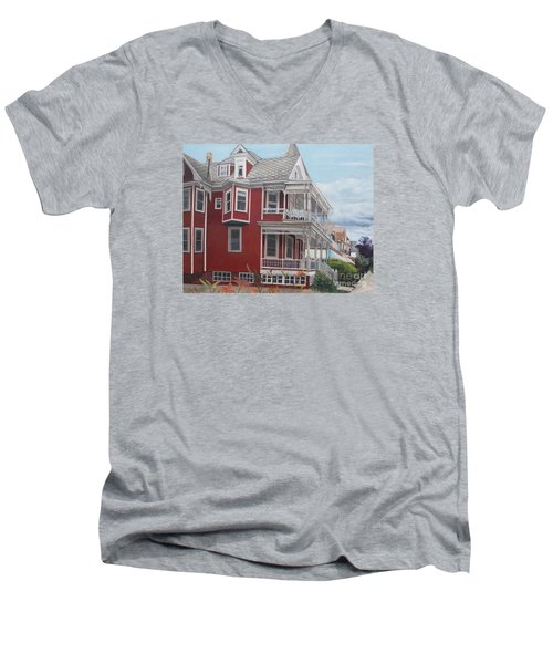 Victorian Afternoon Cape May Men's V-Neck T-Shirt by Barbara Barber