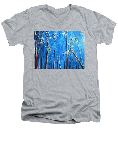 Men's V-Neck T-Shirt featuring the painting Waiting by Dan Whittemore