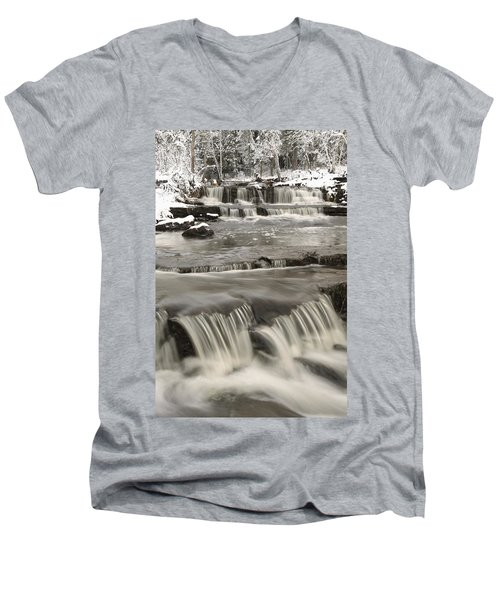 Men's V-Neck T-Shirt featuring the photograph Waterfalls With Fresh Snow Thunder Bay by Susan Dykstra