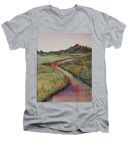 Men's V-Neck T-Shirt featuring the painting Wetlands by Ruth Kamenev