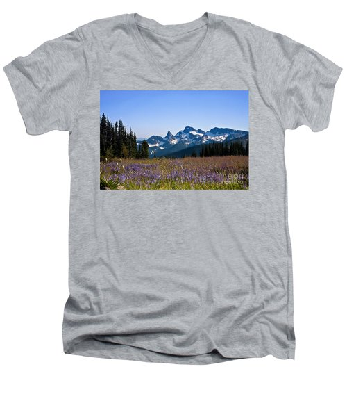 Wildflowers In The Cascades Men's V-Neck T-Shirt