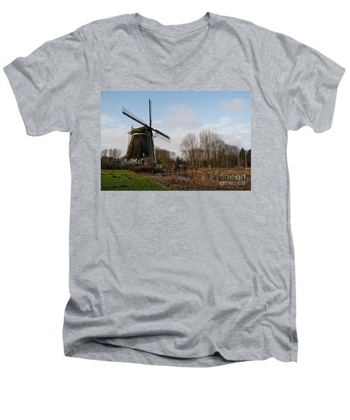Windmill In Amsterdam Men's V-Neck T-Shirt by Carol Ailles