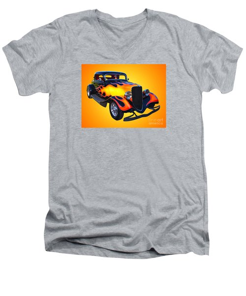 1934 Ford 3 Window Coupe Hotrod Men's V-Neck T-Shirt by Jim Carrell