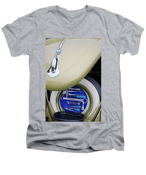 Men's V-Neck T-Shirt featuring the photograph 1956 Volkswagen Vw Bug Tool Kit by Jill Reger