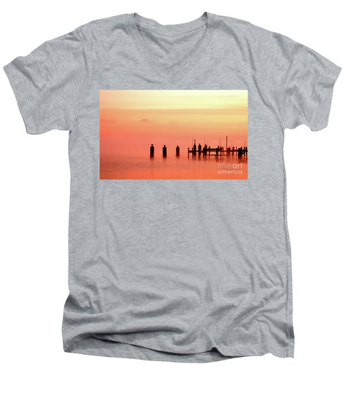 Men's V-Neck T-Shirt featuring the photograph Eery Morn by Clayton Bruster