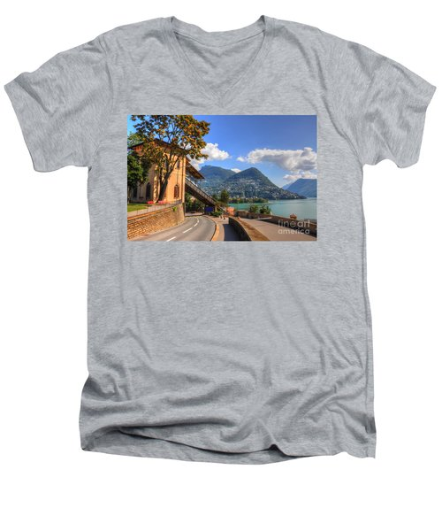Road And Mountain Men's V-Neck T-Shirt