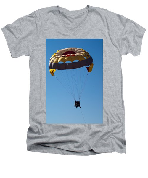 Men's V-Neck T-Shirt featuring the photograph 3 People Para-sailing Pachmarhi by Ashish Agarwal