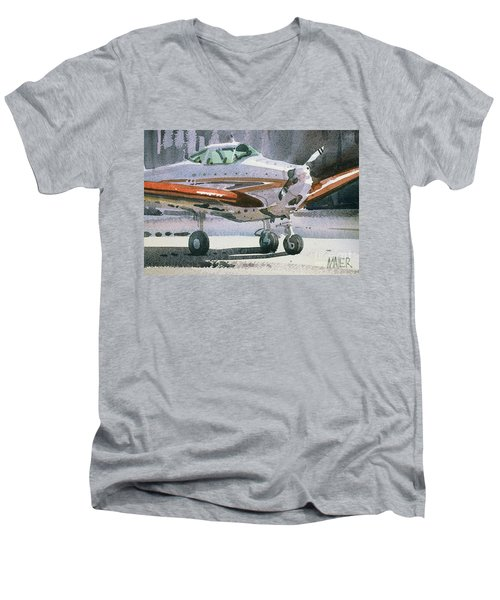 Men's V-Neck T-Shirt featuring the painting Private Plane by Donald Maier